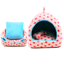 Cute Dot Cats Puppy Beds Comfortable Pets Dog Kitten Beddings House Nest Pad Soft Fleece Bed Home Garden Products Kennels