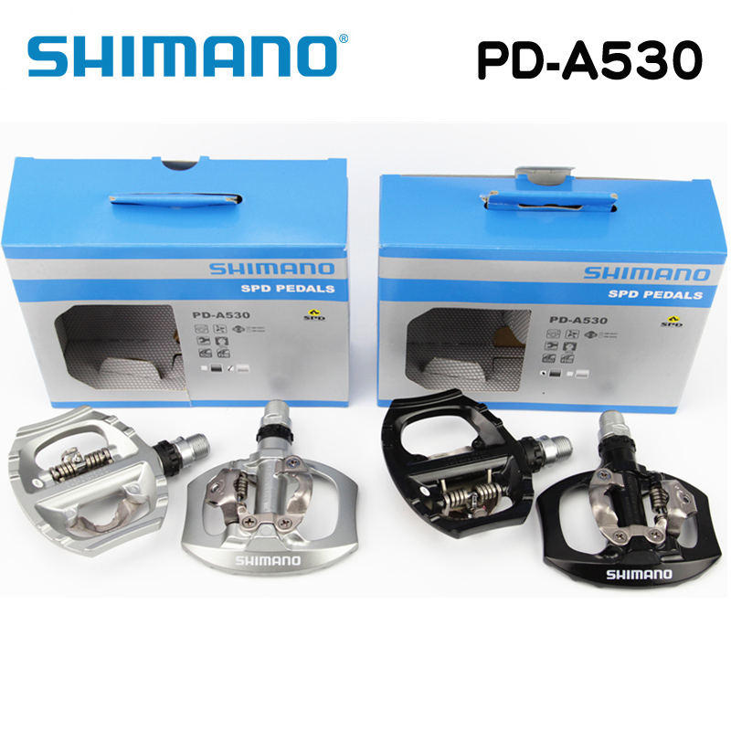 Shimano A530 SPD Aluminum Pedal PD-A530 Pedals SPD Road Bike Touring Pedals With SPD Cleats shimano pd m520 mtb mountain bike clipless pedals with spd cleats sm pd22 black