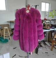 Women's full leather real fur fox fur medium long fur coat female outerwear fox fur ouwear