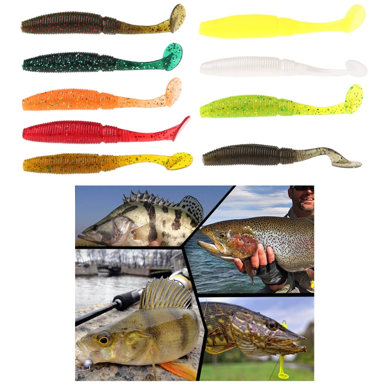 Image 2 - Toply 6pcs T Tail Soft Grub 75mm 3g Fishing Lure Abdomen Paddle Artificial Bass Bait-in Fishing Lures from Sports & Entertainment