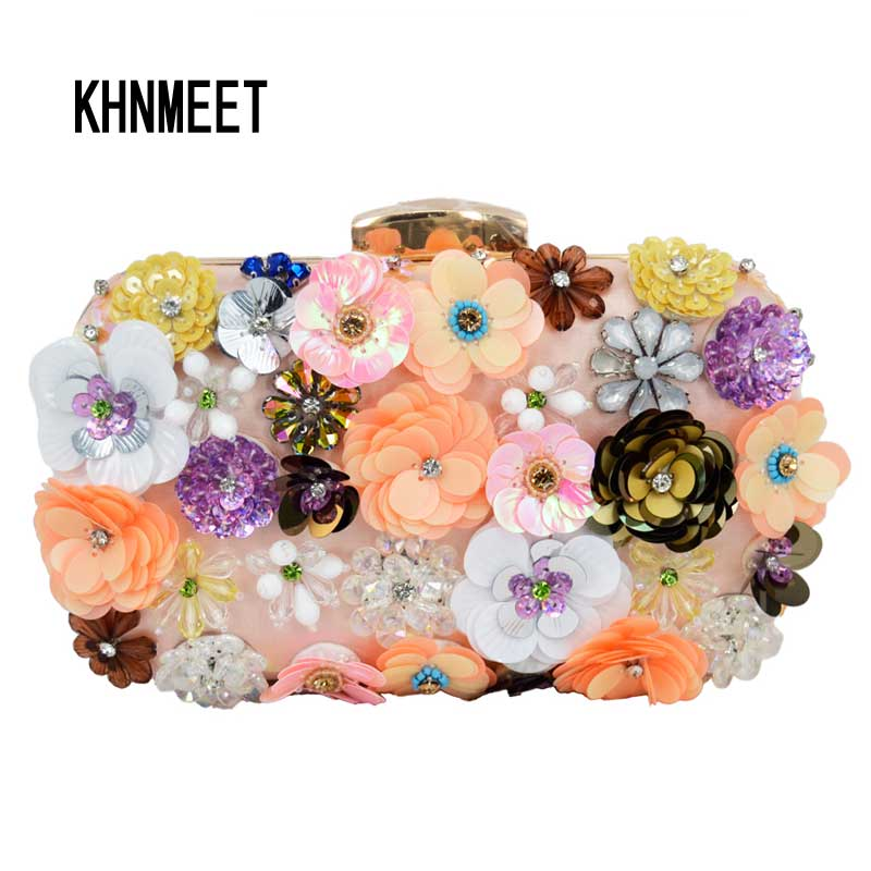 Newest Luxury Lady Diamond Flower Evening Bag Wristlets Wedding Party Bridal Clutch Purse Chain Shoulder Bag banquet clutch 804 newest design evening bags ring diamond clutch chain shoulder bag purses wedding party banquet bag blue gold green red 88621 d
