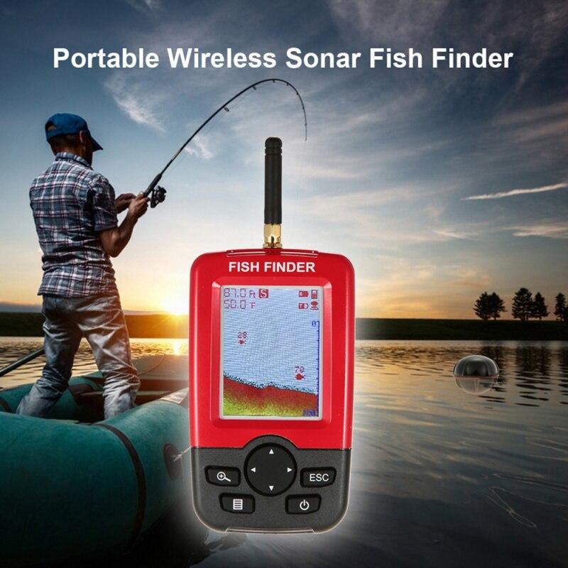 Offre spéciale Alarme 100 M Portable Sonar LCD Sans Fil Fish Finder leurre De Pêche Sondeur De Pêche Finder sondeur Anglais