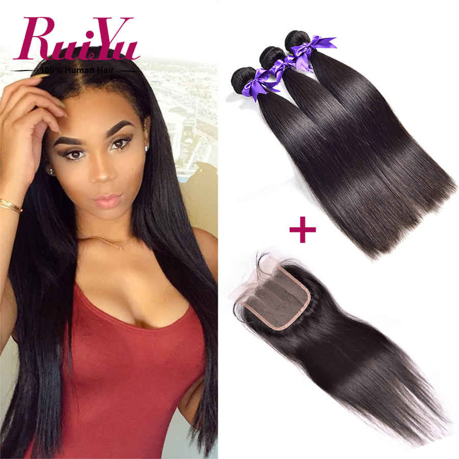 Peruvian Virgin Hair With Closure Straight Peruvian Human Hair with Closure 3 Bundles Peruvian Virgin Hair Straight with Closure
