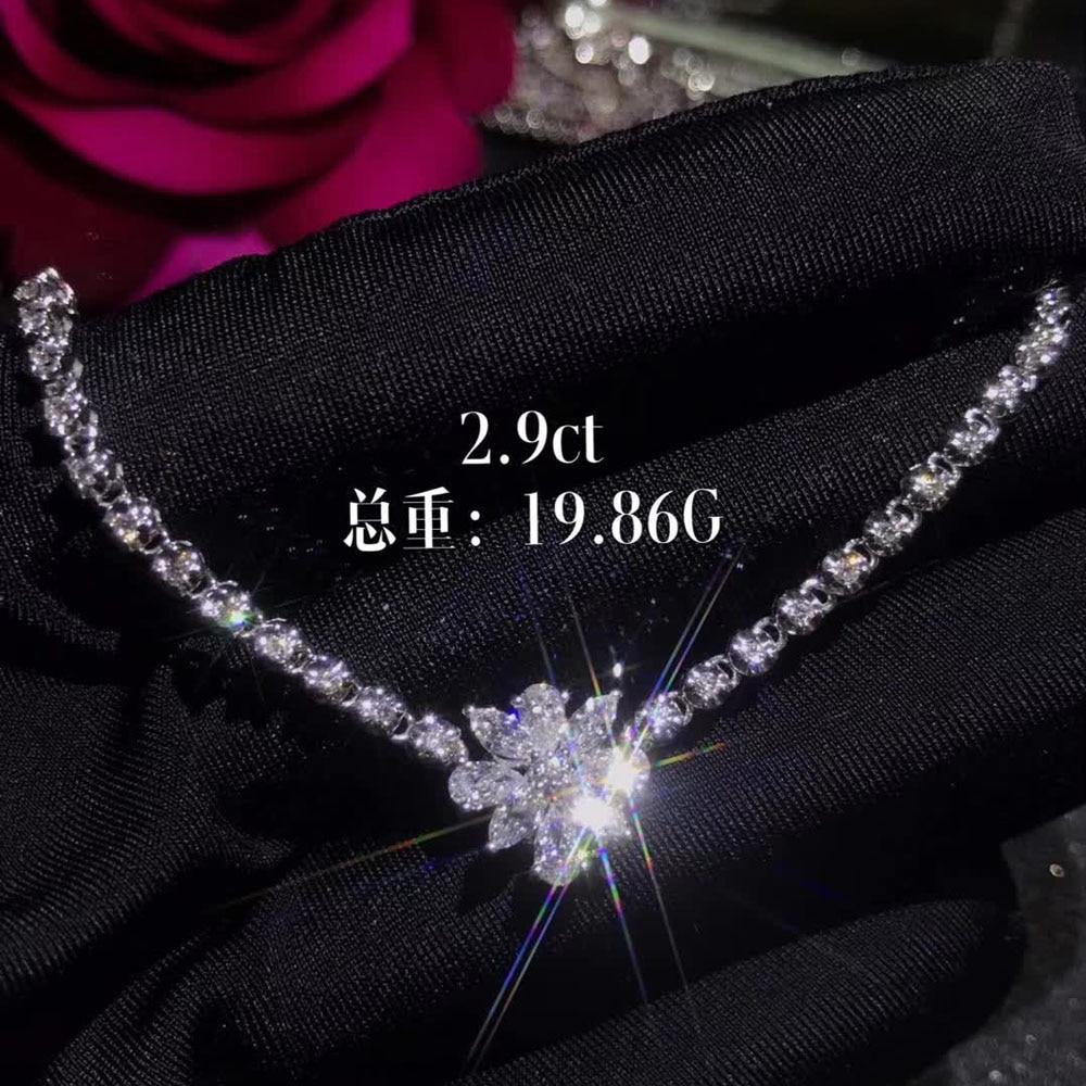 fine jewelry wholesale SGARIT brand luxury 18k white gold 2.9ct natural diamond pendant necklace for women wedding engagement