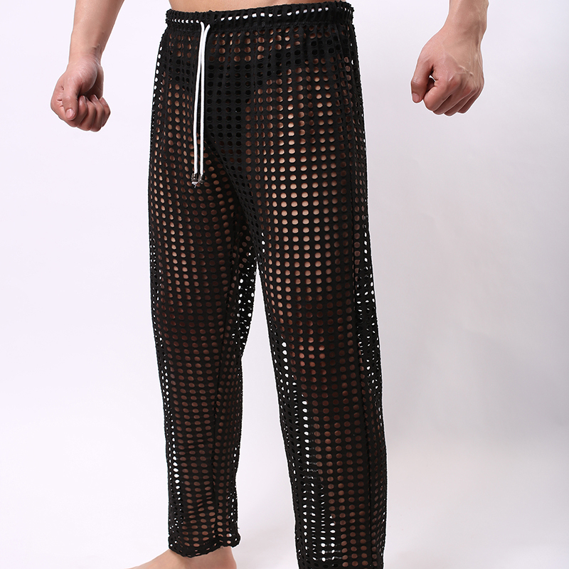 Lounge-Pants Fishnet Pajama-Bottoms Sheer See-Through Long Sexy Male Gay Fashion Grid