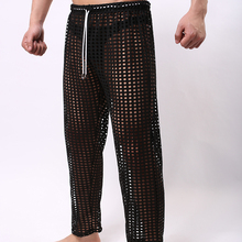 Fashion Grid Fishnet Men Sexy See Through Lounge Pants Gay Male Funny Sheer Long Pajama Bottoms Comfortable Sleep Bottoms