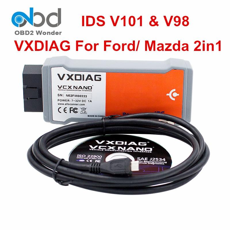 Prix pour Nouvelle arrivée d'origine vxdiag pour ford pour mazda de diagnostic scanner vxdiag vcx nano sw ids v101 pour fazda v98 usb wifi en option