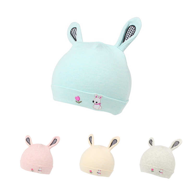 dd9618de64a Cotton Newborn Baby Hat With Ears Cartoon Rabbit Soft Baby Beanie Boys  Girls Tire Cap Solid