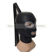 Latex hoods with tress wig hair exotic handmade customized size hot fetish Mask heroine hood women headgear RLM070