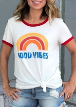 Women T-Shirt Short Sleeve White Women tops tee Good Vibes Rainbow Print T-shirt Splicing O-Neck T-Shirt 2018 Fashion Tops Tee enjoythespirit women t shirt veganism no meat vegan healthy life women clothes good quality fashion good quality fashion tee