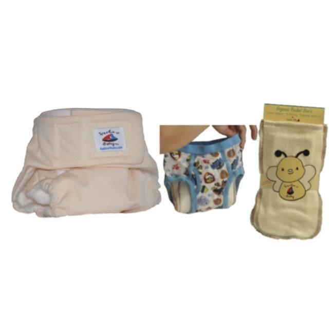 Kashmir Baby OPcloth hook and eye251 Organic Bamboo Lining One Size Diapers with Organic Bamboo Insert Lovely