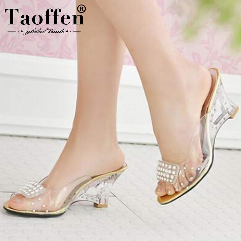 TAOFFEN Size 30-43 New Summer Sandals Women Peep Open Toe Wedge Sandals Slip On Sweet Jelly Shoes Woman Summer Shoes For LadyTAOFFEN Size 30-43 New Summer Sandals Women Peep Open Toe Wedge Sandals Slip On Sweet Jelly Shoes Woman Summer Shoes For Lady