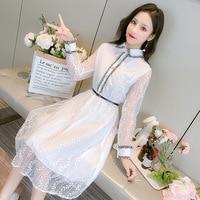Elegant mesh bead chiffon patchwork lace white dress Korean designer dresses runway 2019 high quality long sleeve midi dress