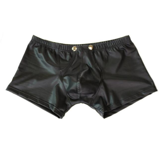 Summer New Men Trunks Leather Underwear U-shape Bulge Boxer Briefs Shorts  Sexy Patent Pouch Soft Underpants