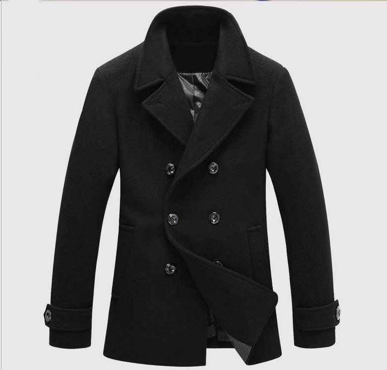 Larga Abrigo Negro Niza Chaqueta Sección Cruzada Moda Hombres De Invierno Xxza4qz0w