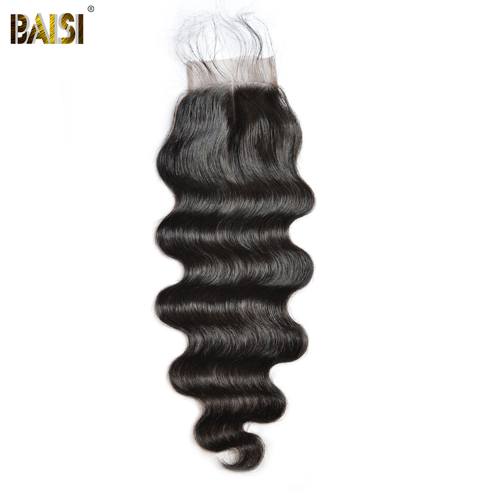BAISI Hair Brazilian Body Wave Swiss Lace Closure 4x4 Middle Part Free Part Three Part 100