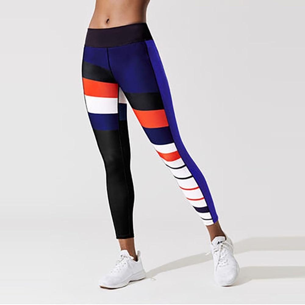 Colors Stripe Pattern Printed   Leggings   Casual Sporting Women Push Up Elastic Slim   Leggings   For Female