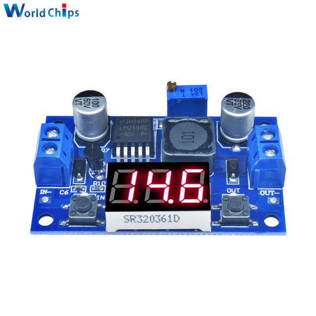 LM2596 dc 降圧コンバータモジュール dc/dc 4.0 〜 40 に 1.25 37 v 2A 調整可能な電圧レギュレータ led 電圧計で