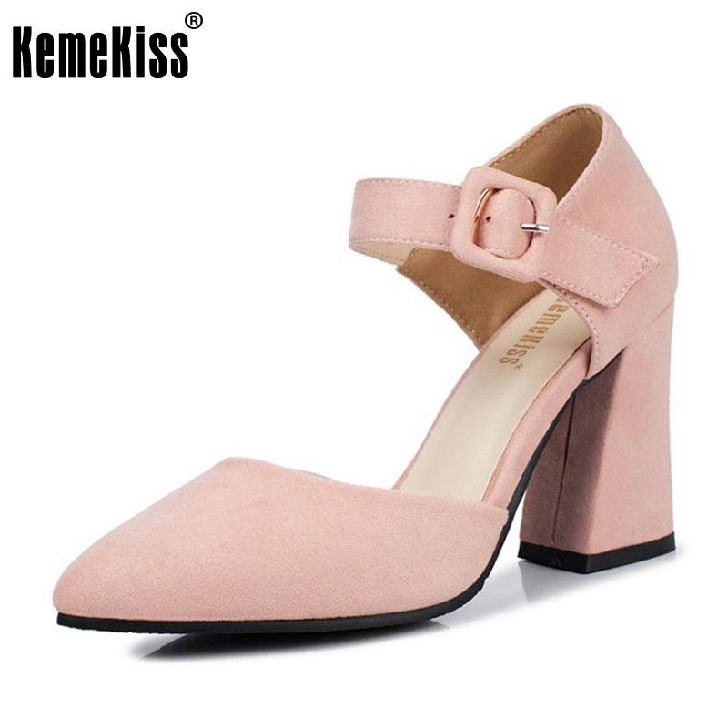 KemeKiss Size 32-47 Office Lady High Heel Sandals Ankle Strap Pointed Toe Thick Heel Sandals Summer Party Shoes Women Footwears kemekiss size 32 43 sexy lady platform high heel shoes women ankle strap thick heel pumps party club office shoes women footwear