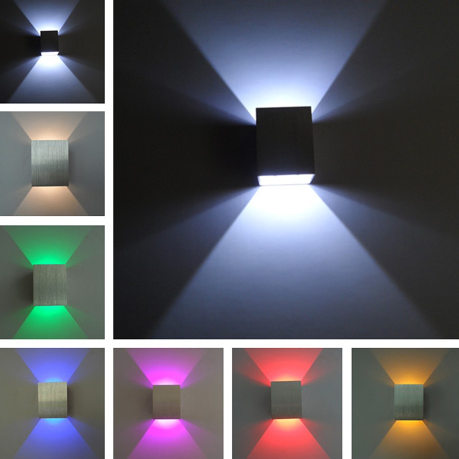 Square up and down led wall light 3w wall led spot light for Exterior up and down lights led