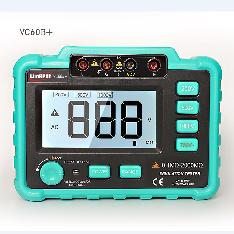 Digital Insulation Resistance Meter VC60B+Megohm Megohmmeter Earth Ground Resistance Impedance Tester Short Circuit DC250V/1000V ...