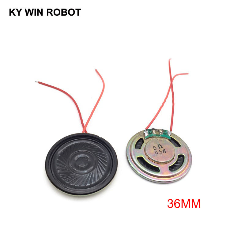 2pcs/lot New Ultra-thin Speaker 8 Ohms 0.5 Watt 0.5W 8R Speaker Diameter 36MM 3.6CM Thickness 5MM With Wire
