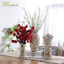 Europe Pastoral Bird Butterfly Porcelain Vase British Rural Ceramic Flower Vase Room Hallway Home Garden Wedding Decoration