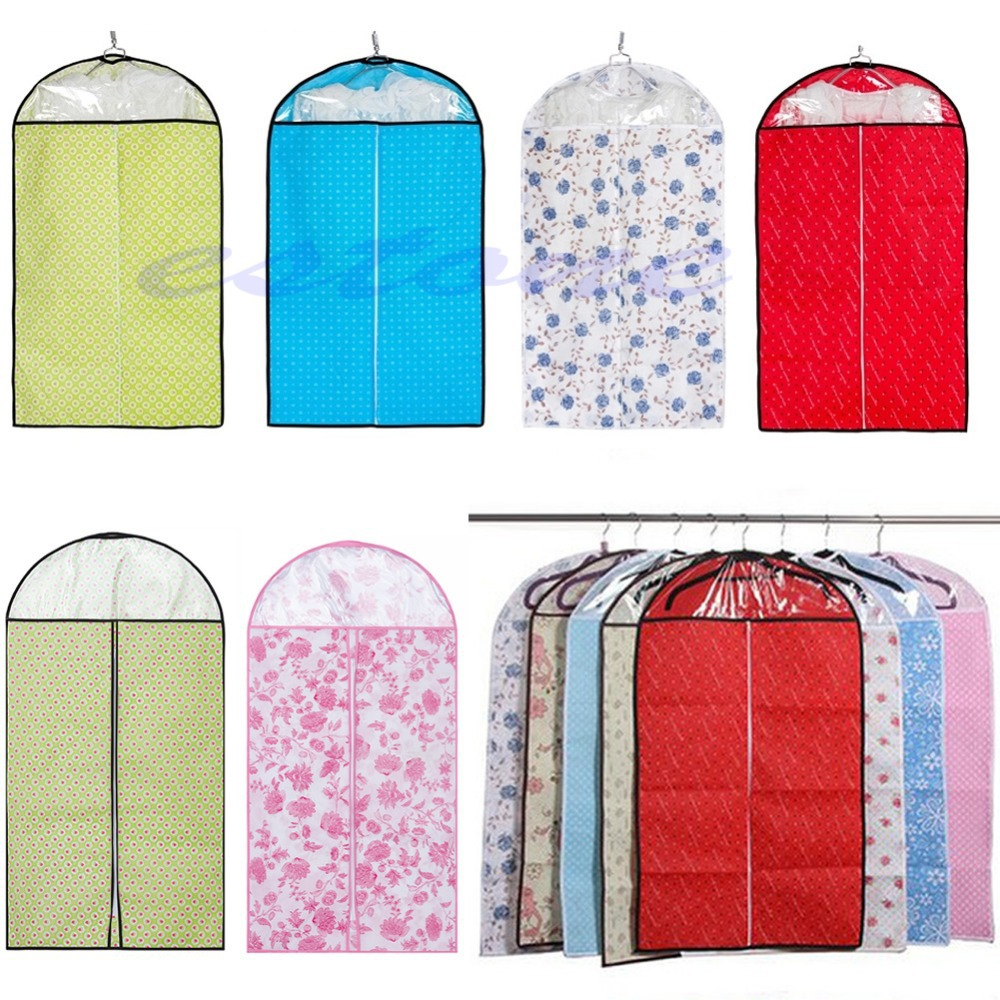 New Home Clothes Dress Garment Suit Cover Bag Dustproof Jacket Skirt Canvas Useful Storage Protector color random