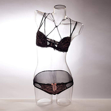 Transparent half body mannequin, female torso mannequin used for underwear display