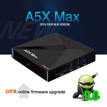 A5X MAX 4G + RK3328 32G Inteligente Android 9.0 Caixa de TV Quad-Core Apoio 4 K DH 3.0 USB 2.4G Wifi Bluetooth 4.1 Set Top Box