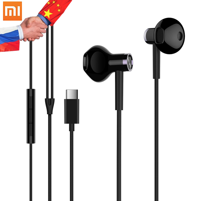 9fcf0d5618d Original Xiaomi Earphones USB Type-C Headset Half In Ear Wired Control  Dynamic Ceramic Speaker Earphone MEMS Mic MI Headsets
