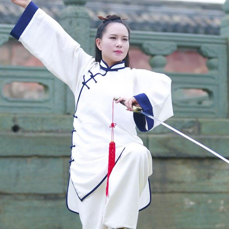 White Top Grade Chinese Tai chi Clothing women Long sleeve Wudang Kung fu Uniforms Linen Taiji Suit Wushu Martial arts Clothes 14colors top grade chinese tai chi uniforms cotton linen wudang kung fu clothing shaolin monk suit wushu martial arts clothes