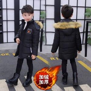 Image 2 - 少年子供冬コート厚く暖かい毛皮パーカーコートjakcets男の子の子供のビロード綿パッド入りのオーバーコート服