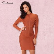 Ocstrade Autumn Long Sleeve Bodycon Dress 2017 New Arrival Rust Weave Detail Designer Party Bandage Dress Women