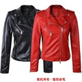 Black Jacket New fashion red jacket new 2017 bomber motorcycle Leather jackets women 2 color brand jacket jaqueta couro ladies