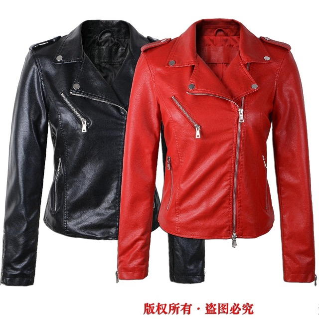 Black Jacket New fashion red jacket new 2017 bomber motorcycle Leather  jackets women 2 color brand d4eedb298