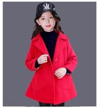 Новая Мода 5-12Y Дети Одежда Девочек Верхняя Одежда Принцесса однобортный Шерстяное Пальто Весна Зимний Пиджаки и Куртки KC-1701