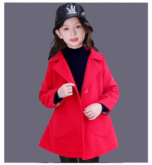 New Fashion 5-12Y Children Clothing Girls Outerwear Princess Single-breasted Woolen Coat Spring Winter Outwear&Jackets KC-1701