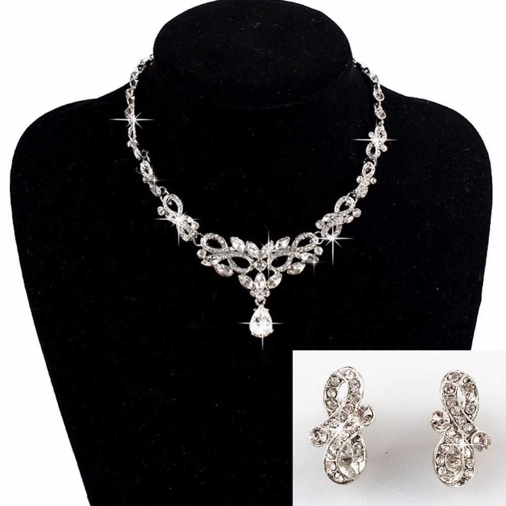 Bridal Wedding Bride Party Rhinestone Necklace Earring Pendant Chain Jewelry Set  -W128