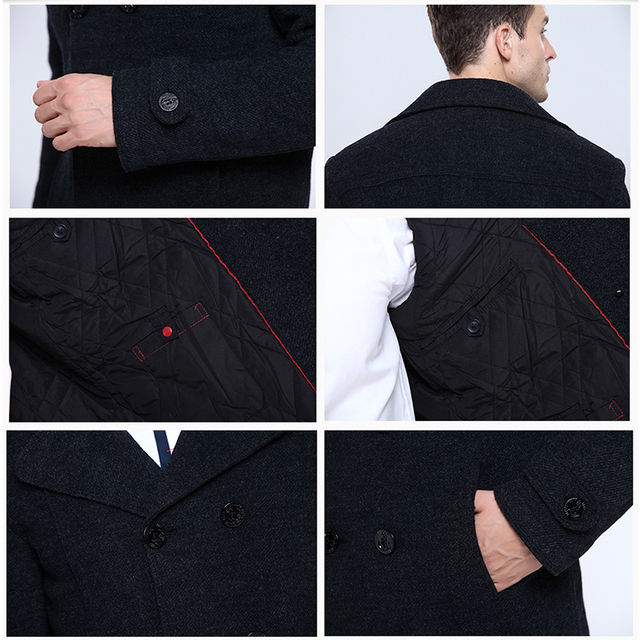 Wool Blends Coat  Slim Fit Double Breasted