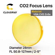 "Cloudray USA CVD ZnSe Focus Lens Dia. 28mm FL 50.8/63.5/127mm 2/2. 5/5 ""voor CO2 Lasergravure Snijmachine Gratis Verzending"