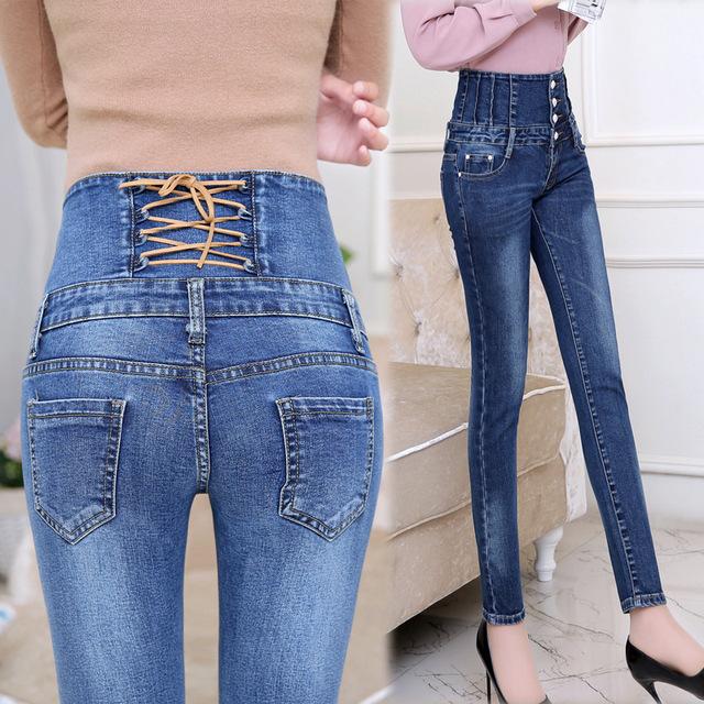 Otoño Primavera Pantalones Vaqueros Para Mujer de Cintura Alta Pantalones Vaqueros Flacos Elásticos Denim Lápiz Pantalones Largos Mujer Volver Cruz Feminina camisa Pantalones
