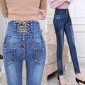 Primavera outono calças de Brim Das Mulheres de Cintura Alta Elastic Skinny Jeans Longo Calças Lápis Voltar Cruz Calças Jeans Mulher Camisa Feminina