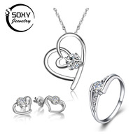 Wholesale 100 Real 925 Sterling Silver Love Heart Women Jewelry Set