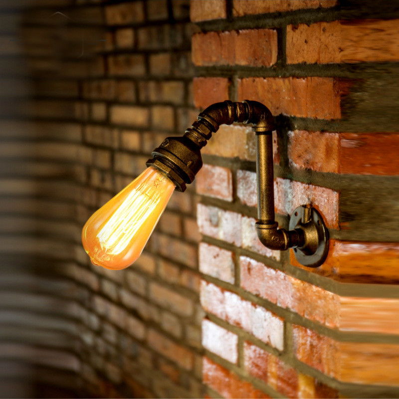 American Village Loft Industrial Edison Style Vintage Wall Light Lamp Retro Water Pipe Lamp Wall Sconce american rustic loft style vintage industrial wall light lamp retro water pipe lamp edison wall sconce