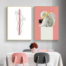 Abstract Line Poster Print Minimalist Painting Nordic Canvas Nude Woman Pictures Wall Art Unframed