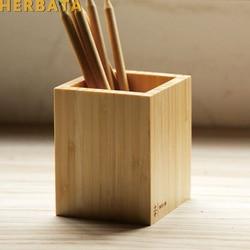 Multi-função criativo bambu feito papelaria de mesa organizador caneta lápis caixa de armazenamento caso quadrado recipiente CL-2554