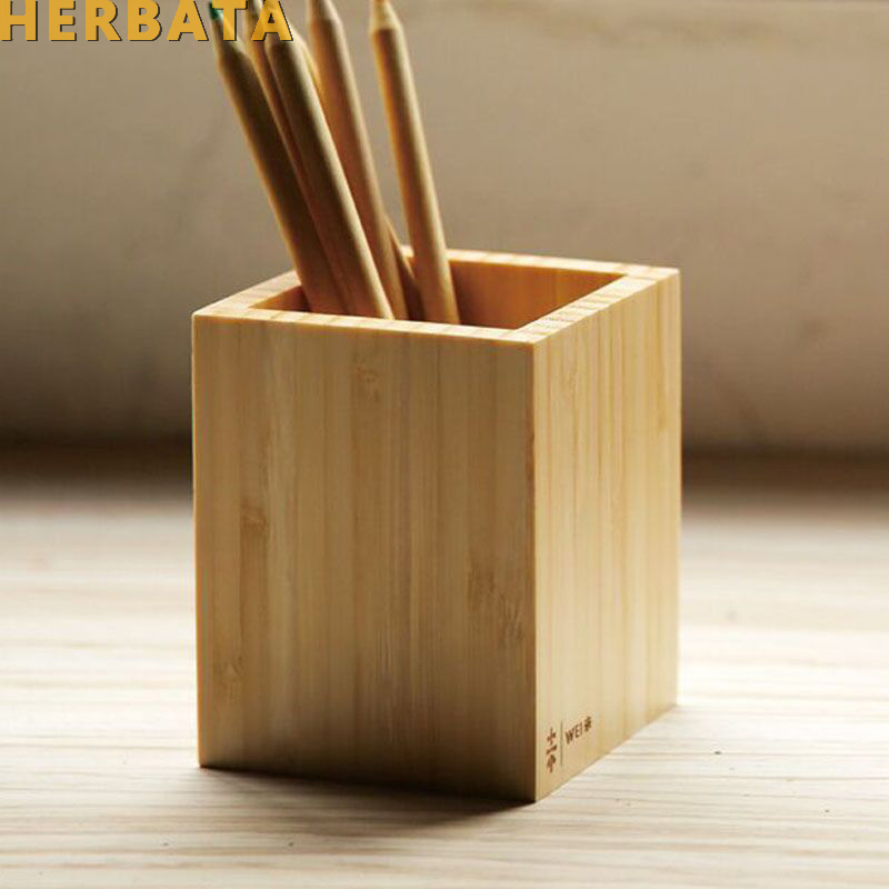 Multi-function Creative Bamboo Made Desk Stationery Organizer Pen Pencil Holder Storage Box Case Square Container CL-2554