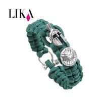 LIKA Men Bracelets Umbrella Rope Sparta Helmet Shape Copper Nylon Rope Handmade Trendy Cuff Bangles Bracelets