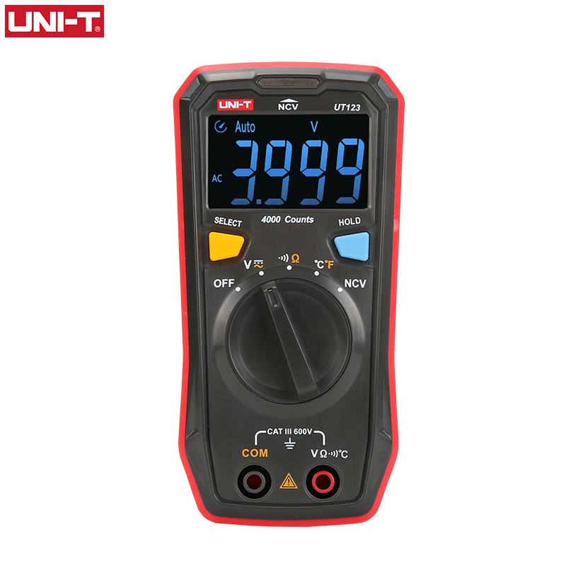 UNI-T Auto Range Mini Digital Multimeter Temperature Tester UT123 Data hold AC DC Voltmeter Pocket Voltage Ampere Ohm Meter